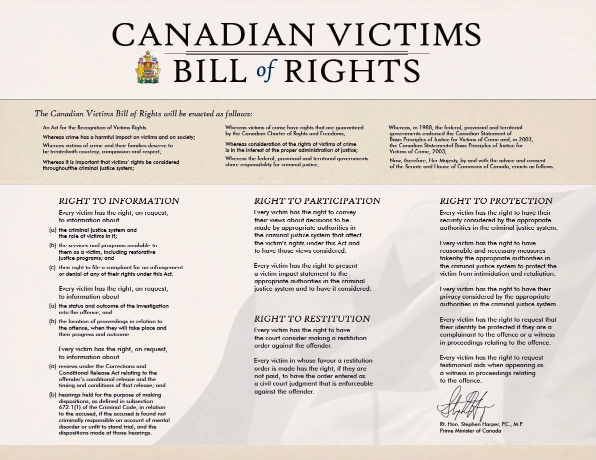 Victims rights and crime prevention victim services victims bill of rights certificate xflitez Images